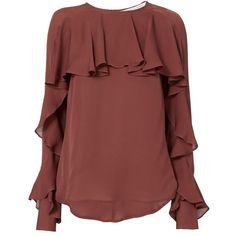 Veronica Beard Women's Mia Ruffle Blouse ($375) via Polyvore featuring tops, blouses, red, frilly blouse, ruffle top, silk ruffle blouse, keyhole blouse and red silk blouse