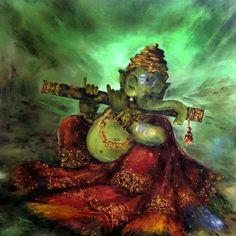 Ganesha on flute. Modern art.
