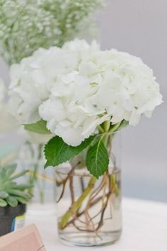 three separate clear glass vases/jars of varying heights comprised of white hydrangea centerpieces, baby's breath centerpieces, or azalea centerpieces.