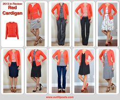 .Red Cardigan Styles