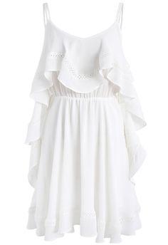 Frilling Empire Cami Dress in White - New Arrivals - Retro, Indie and Unique Fashion