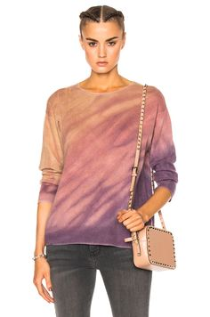 Raquel Allegra Crop Sleeve Boxy Crew Sweater in Rose Quartz Tie Dye | FWRD