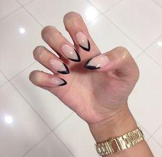 May 2019 - french nails square Hair Colors Nail Polish, Nail Manicure, Diy Nails, Cute Nails, Pointy Nails, Short Stiletto Nails, Nagel Hacks, French Tip Nails, Black French Nails