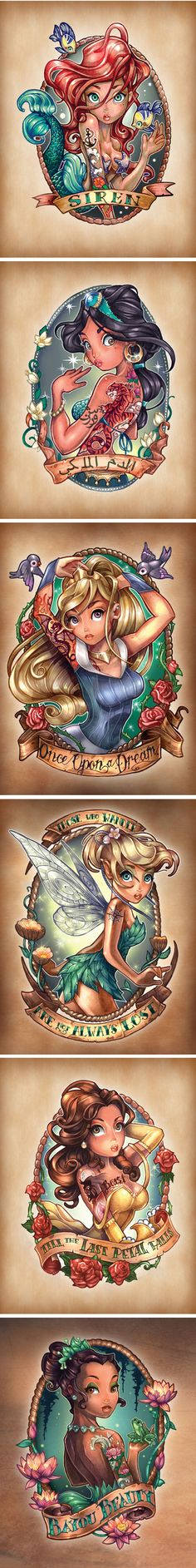 Disney Princesses As Vintage Tattoos