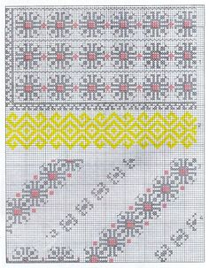 Design from city of Pipirig in the district of Neamt.  Lower design for wrist, collar, front opening. Yellow portion likely done in flat stitch.