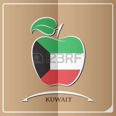 Logotipo de la manzana hecho de la bandera de Kuwuait. Tech Logos, Clipart, Asia, Logos, So Done, Illustrations