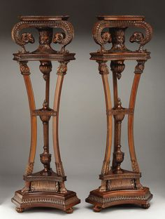 A Pair of Mahogany Ram's Head Wooden Pedestals. Unknown maker,Continental. Early 20th century.