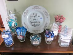 Favor for a boys First Communion. Most of the candy was blue and white. It was a hit!!!