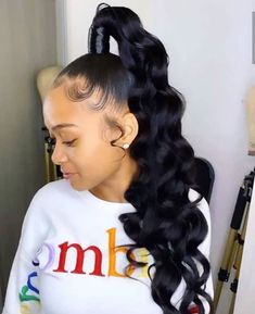 have natural bob long curly ombre or blonde and grey color body wave and straight with bangs.protective styles cheap for sale wavy 360 frontal closure half wig afro full styling making Black Ponytail Hairstyles, Hair Ponytail Styles, Easy Hairstyles For Medium Hair, Sleek Ponytail, Baddie Hairstyles, Weave Hairstyles, Girl Hairstyles, Curly Hair Styles, High Ponytail With Weave