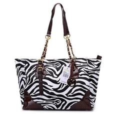 Michael Kors Zebra Chain Shoulder Tote Black