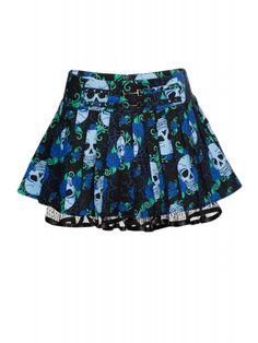 1f766a134a7273 Jawbreaker Women s Skull Rose Blues Mini Skirt - Blue Punk Rock Fashion