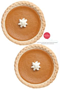 free downloadable faux pumpkin pie lid to place over a pie tin and fill with toys for a children's table or leftovers for your guests.