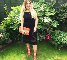 Black Dress with Orange Lace Up High Heels and Clutch- Polished Couture