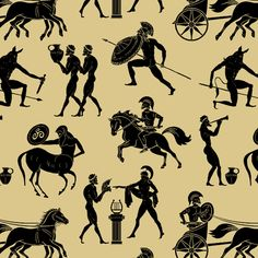 Greek Mythology Fabric - Greek Figures On Orange By Thinlinetextiles - Greek Mythology Olympic Cotton Fabric By The Metre by Spoonflower Ancient Greek Art, Ancient Greece, Greek Mythology Art, Roman Mythology, Greek Mythology Costumes, Greece Mythology, Cotton Twill Fabric, Cotton Canvas, Custom Fabric