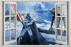 STAR WARS 3D Window View Decal WALL STICKER Art Mural Darth Vader Death H250 Large * Want additional info? Click on the image. (Note:Amazon affiliate link)