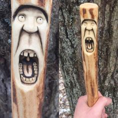 Walking Stick Wood Carving Staff Hiking Stick Wood by JoshCarteArt