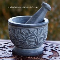 GRAY WITCH'S GARDEN Carved Soapstone Mortar & Pestle - Crafting Herb Spice Incense Grinding Preparation Tool, Kitchen Witchery, Witchcraft by ArtisanWitchcrafts on Etsy https://www.etsy.com/listing/222799550/gray-witchs-garden-carved-soapstone