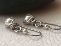 Simple Silver Earrings Silver Plated Beads by TamiLopezDesigns, $23.00
