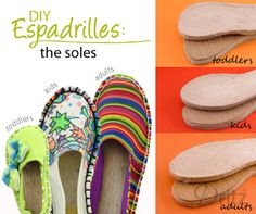 Introducing Dritz Espadrilles DIY Shoemaking Products. The just soles are available in a range of kids, toddlers and adult sizes. See Dritz website for full details. #sewing