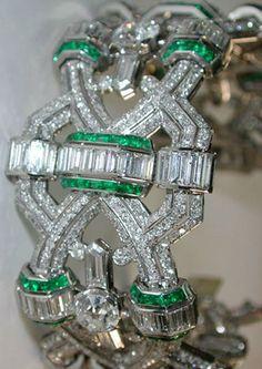 Deco Emerald and Diamond Bracelet