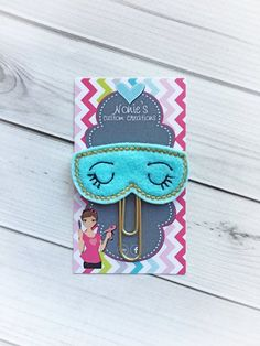 Sleep Mask Paper Clip - Breakfast at Tiffanys -Planner Paper Clip - Planner Accessories - Holly Go Lightly- Mask Paper Clip - Mask Feltie Paper Pin, Mini Album Tutorial, Best Planners, Felt Ornaments, Sleep Mask, Happy Planner, Mini Albums, Elsa, Embroidery Designs