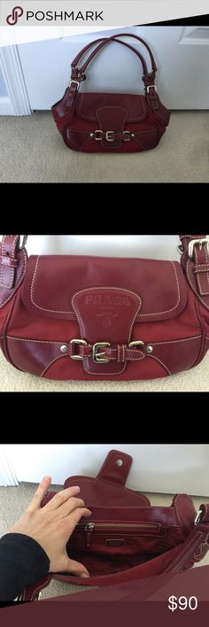 Prada handbag Red leather and nylon Prada Bags