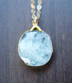 Aquamarine pendant necklace OOAK 14k Gold Fill by friedasophie