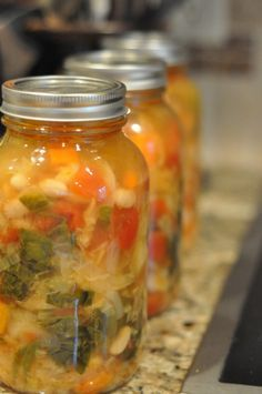 Tuscan+Minestrone+Soup+-+Canning+homemade+soups can help+you+save+money,+gain+control+over+what's+in+your+food,+and+save+you+time+when+you+need+a+quick+meal.+Make+your+own+canned+soup+with+one+of+these+delicious+twelve+recipes+today. Canning Soup Recipes, Pressure Canning Recipes, Canning Tips, Pressure Cooker Recipes, Cooking Recipes, Pressure Cooking, Canning Food Preservation, Preserving Food, Canning Granny