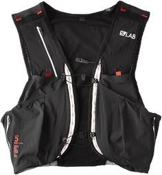 Salomon S-Lab Sense Ultra 5 Set Pack Black / Racing Red Small. MotionFit trail. Sensifit. Light twinlink. 1 Chest mobile zipped pocket. 1 Chest stretch pocket with silicone grip.