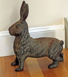 Vintage Cast Iron Rabbit Bunny Door Stop  Hubley?