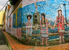 La Candelaria district is one of the best places to find street art in Bogota; there are many works by local artists Stinkfish, Malegria, Rodez and Nomada Colombian Art, Beautiful Streets, Local Artists, The Good Place, Graffiti, Street Art, Wall Art, World, Murals