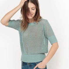 R Studio Womens Crew Neck Openwork Jumper/Sweater Jumpers For Women, Pulls, Cable Knit, Crochet Top, Cashmere, Crew Neck, Turtle Neck, Pullover, Knitting