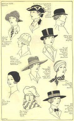 1920 -1930 ladies sport styles hats