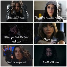 Agents of S.H.I.E.L.D. Daisy Johnson | Rise by Katy Perry | This was my third edit I believe. I think this song fits Daisy so well. Especially season 2 Daisy. Marvel Show, Marvel Dc, Agents Of Shield Daisy, Shield Season 4, Chloe Bennett, Girl Power Quotes, Funny Marvel Memes, Destroyer Of Worlds, Nerd Love