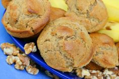 This easy banana muffin recipe is one of the nicest banana muffin recipes I have tried. If you are searching for delicious banana recipes, look here. Banana Muffin Recipe Easy, Banana Bread Recipes, Muffin Recipes, Diabetic Muffins, Banana Breakfast Muffins, Golo Recipes, Walnut Recipes, Baking Cupcakes, Stick Of Butter