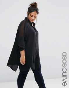 ASOS Curve | ASOS CURVE Oversized Blouse With Sheer Inserts