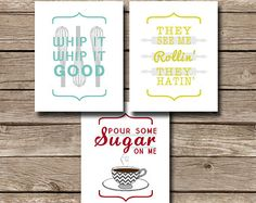 Funny Modern Kitchen Wall Art Whip it Whip by SimplyPutPrintables