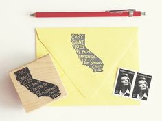 What an adorable idea for a return address stamp!  Home State Personalized Return Address Stamp by paperpastries, $70.00