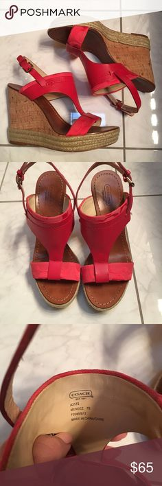Coach Wedge Sandal Size 7 Preloved Coach wedge sandal. Pretty deep coral color. Size 7. Super comfortable. Please see pictures above of wear. Coach Shoes Espadrilles