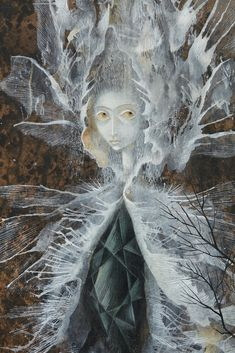 Remedios Varo - La Mujer libélula (Dragonfly Woman), ca. 1961 Oil, gouache and ink on paper mounted on masonite × 20 cm Art And Illustration, Fantasy Kunst, Fantasy Art, Evil Mermaids, Symbolic Art, Surrealism Painting, Guache, Unusual Art, Visionary Art