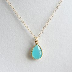 Tiffany Blue Teardrop Necklace. Gift for Her. Valentines Day. Bridesmaid Gift. Simple Modern Jewelry by PetitBlue. $25.00, via Etsy.