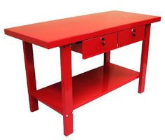 Steel work bench with 2 locking drawers and a bottom storage shelf. Product: Work benchConstruction Material: SteelColor: RedFeatures: Bottom storage shelfTwo locking drawersIncludes two keys Dimensions: H x W x DAssembly: Extensive assembly required