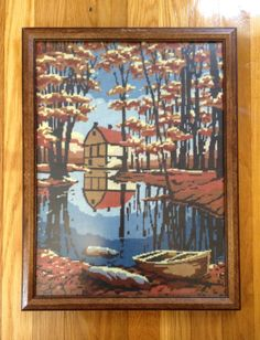 Vintage Retro Needlepoint Paint by Numbers Barn, Framed *Fall Decor*