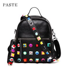 2018 New Collection Spring Colorful Rivet Design Women s Backpack Genuine  Leather Female Bagpack Preppy Style Girl 5f241c2b7b62c