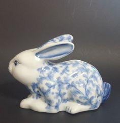 Blue and White Rabbit Bank Charles Sadek by MillysAtticTreasures