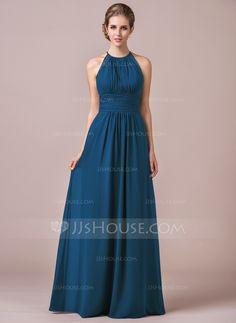 A-Line/Princess Halter Floor-Length Chiffon Bridesmaid Dress With Ruffle Lace (007054347) - JJsHouse