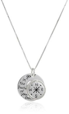 Sterling Silver 'Go in the Direction Of Your Dreams' with Compass Pendant Necklace, 18' >>> Check this awesome product by going to the link at the image.