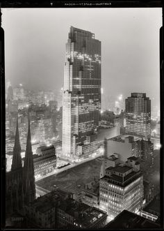 "30 Rock: New York. December 5, 1933. ""Rockefeller Center and RCA Building from 515 Madison Avenue."" Digital image recovered from released emulsion layer of the original 5x7 acetate negative. Photo by Samuel H. Gottscho."