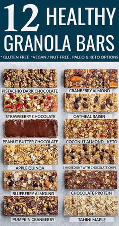 Healthy Homemade Granola Bars - 12 Ways - perfect healthy on-the go snacks for back-to-school lunchboxes. Best of all, gluten-free, refined sugar free with nut-free, vegan, no bake & low carb keto opt Vegan Healthy Snacks, Keto Vegan, Healthy School Snacks, Keto Snacks, Healthy Homemade Snacks, Sugar Free Snacks, Healthy Snack Options, Healthy Recipes, Sugar Free Meals