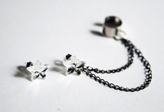 Crystal Star Double Black Chain Cuff Earring Set